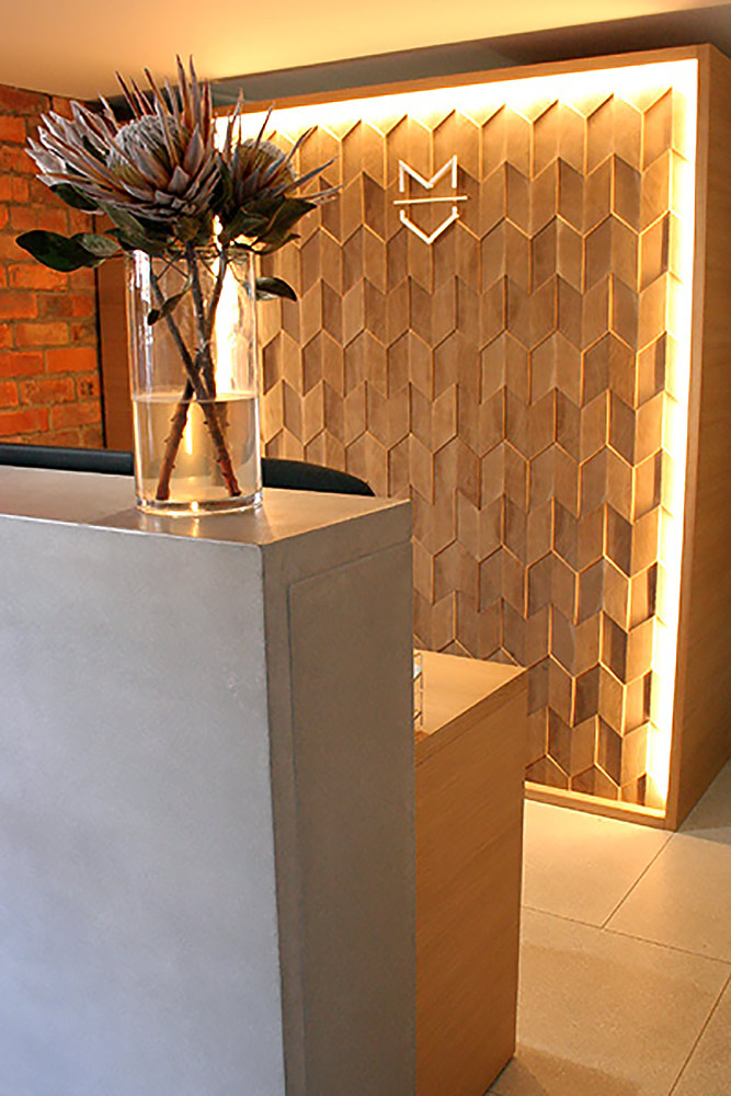 rhombus relief textured feature wall