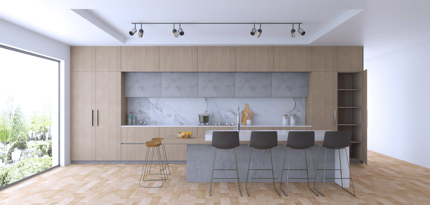 kitchen cupboard design render - Anthracite range