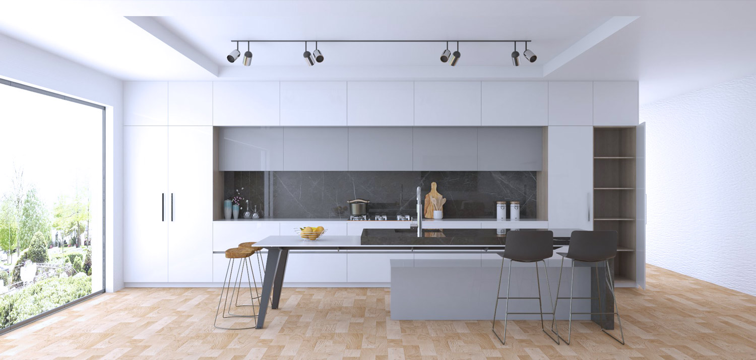 kitchen cupboard design render - Platinum range